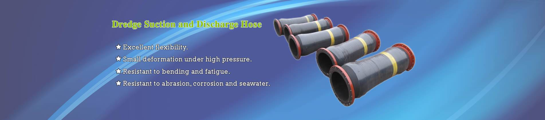 Five short dredge suction and discharge hoses.